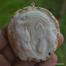 Eagle Wolf Bear Carving 58x56mm Pendant P972 w/ Silver in Antler Burr Carved