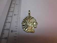 14KT GOLD EP NATIVE AMERICAN INDIAN CHIEF PENDANT CHARM - 2180