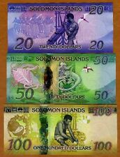 SET Solomon Islands, $20;50;100 ND (2013-2017), P-New UNC   Redesigned