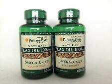 2 Puritan's Pride Natural Flax Seed Oil 1000 mg - Omega-3, 6 & 9 Made In USA