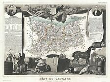 GEOGRAPHY MAP ILLUSTRATED ANTIQUE LEVASSEUR CALVADOS POSTER ART PRINT BB4365A