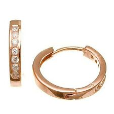 CHANNEL SET 14K ROSE GOLD PLATED CZ HOOP EARRINGS HALLMARK 925/SS 15MM