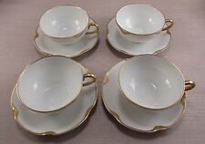 Haviland Limoges China SILVER ANNIVERSARY Cups & Saucers - Four Sets