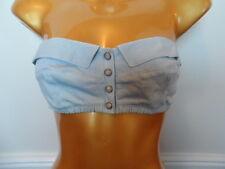 bnwt new ladies harrods beautiful blue denim bra top size t2 / 8/10