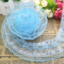 New 5 Yards 4-layer Sky Blue Pleated Trim Mesh Lace Sewing Sequin Gathered Sy04
