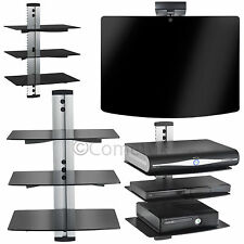 Silver Glass DVD Shelves 3 Tiers for SKY Box LCD LED TV Wall Mount Bracket Stand