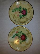 Vintage Hand Painted Plates Light Covers Homemade Flowers Red Gold Rare Help