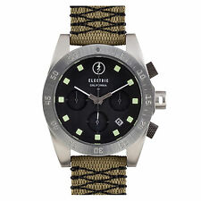 Electric DW01 Mens Chronograph Sports Watch Black Dial Olive Nylon Woven Strap