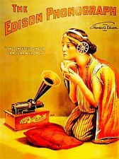 MUSIC ADVERT EDISON PHONOGRAPH SONGBIRD GIRL HORN PILLOW USA POSTER PRINT LV2244