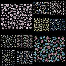 10 Sheets Nail Art Transfer Stickers Flower, Heart, Star, Butterfly, Dragonfly