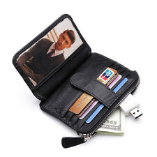 men women leather Coin Purse Small wallet ID Credit Card Case bifold wallet gift