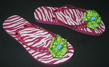 NWOT GIRLS YOUTH PINK w/ GREEN FLOWER HOBBY LOBBY FLIP-FLOPS  SIZE  2-3