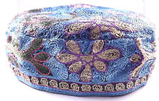 Blue Bucharian Yarmulke Kippah Jewish Kippa Hat Judaica Cap Large Big Buchari