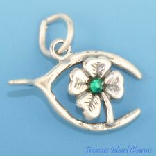 LUCKY SHAMROCK CLOVER WITH GREEN CRYSTAL AND WISHBONE .925 Sterling Silver Charm