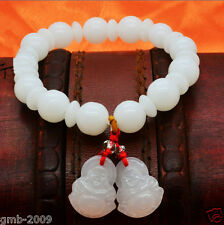 Natural 8mm White Jade Tibet Buddhism Buddhas Head Prayer Beads Mala Bracelet
