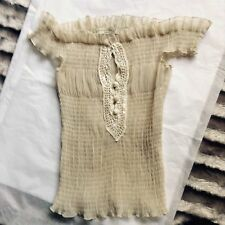 Vintage Martine and I PARIS nylon pleated cream off shoulder TOP Embroidered