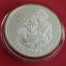 ALDERNEY 2006 QEII 80th BIRTHDAY SILVER PROOF £5 CROWN WITH .999 GOLD PLATING a