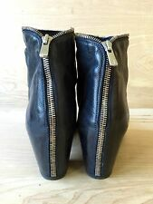 Office Creative Women's black leather boots EU40, US Sz9.5 silver zipper detail