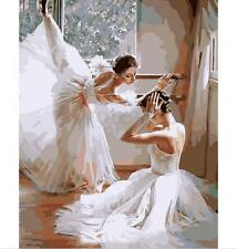 "DIY Painting By Numbers Kit Ballet Practicing Dancer Girl On Canvas 16""X20"" Kit"