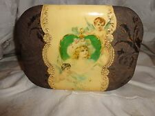 ANTIQUE VICTORIAN CELLULOID GIRL CHILD PORTRAIT CHERUB BUTTERFLIES DRESSER BOX