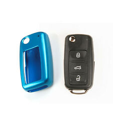 BLUE Paint Metallic Remote Key Fob Case HOLDER BAG Shell Cover for VW SKODA SEAT