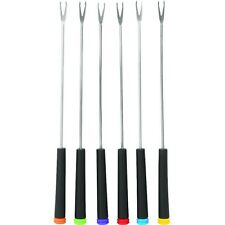 Trudeau Stay Cool Black Handle Fondue Forks with Multi-Colored Tips - Set of 6