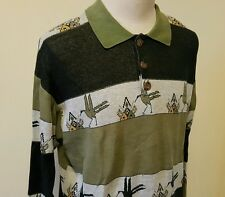 VTG 1970s/80s Hang Ten Long Sleeve Polo -Striped.Tribal Birds-Surf/Skate/Beach L