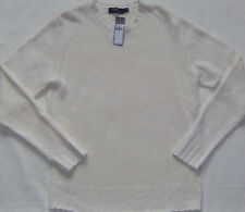 New Mens POLO Ralph Lauren White Italian Yarn Linen Crewneck Sweater Size L $245