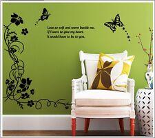 Black Butterfly Vine Tree Branch Flower Wall Decals Sticker Mural Home Art Decor