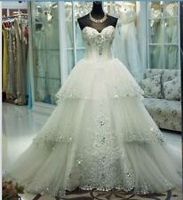 Luxury Ivory Crystal Bling Wedding Dresses Beaded Layers Sweetheart Bridal Gowns