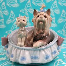 Lladro # 6469 ~ OUR COZY HOME ~ Yorkies in Basket   * MINT * BUY 1 GET 1 50% OFF