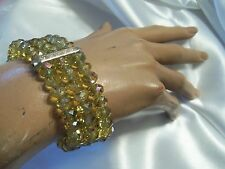 LAST ONE: CANARY YELLOW AB Crystal Silver/Rhinestone Stretch Bracelet A-B063
