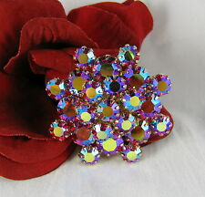 Vintage Weiss Red Aroura Borealis Dazzling Rhinestone Pin Brooch  CAT RESCUE