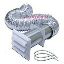 """NEW LAMBRO 1377W 4"""" X 5 FOOT WHITE PLASTIC DRYER VENT FULL KIT WITH LOUVER"""