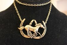 "Western Dark Antique Gold 30"" Double Horseshoes/Running horse Necklace"
