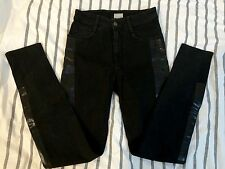 BNWOT H&M TREND HIGH WAISTED WASHED BLACK SHINY SIDE PANEL Skinny JEANS 34 8