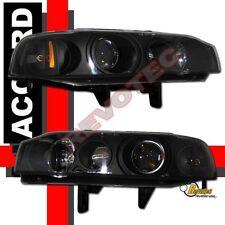 90 91 92 93 Honda Accord Coupe / Sedan Black Projector Headlights Lamps 1 Pair