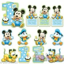 MICKEY MOUSE 1st BIRTHDAY CUTOUT DECORATIONS (12) ~ First Party Supplies Boy