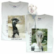 Original One of A kind Printed Photo T-shirts Ostrich & Marabou Stork