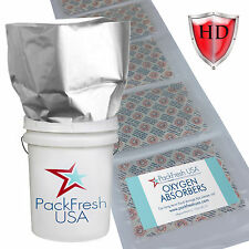 5 Gallon Premium HD Mylar Bags + 2000cc INDIVIDUALLY SEALED Oxygen Absorbers (6)