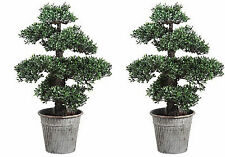 "24"" ARTIFICIAL BONSAI TREE PLANT TOPIARY ARRANGEMENT IN OUTDOOR GARDEN PATIO 2"