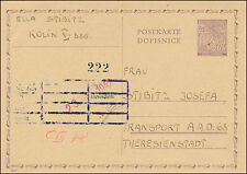 1942 Kolin BM Transport Germany Theresienstadt Concentration Camp Postcard Cover