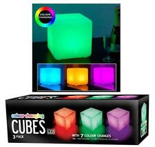 3 X COLOUR CHANGING MOOD CUBES LIGHT SET LED WARM GLOW NIGHT PARTY XMAS GIFT