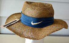 New Vintage NIKE GOLF Seagrass Straw Hat Panama Gambler Cowboy Mens Womens RARE