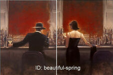 "art oil painting ebay lowest price :bar man and woman wine teacher 24x36"" x2P"