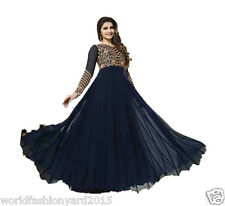 Bollywood Designer Party Wear Bridal Navy Blue Georgette Anarkali Salwar Suit