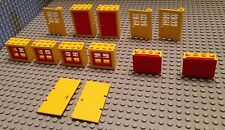 Lego Lot Of 7 Doors / Yellow & Red / Build A House / City / Home / 6 Windows