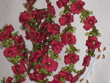 Old Stock Vintage FRENCH RUBY SILK & RAYON ROCOCO ROSETTE TRIM~Doll/Baby~Yard