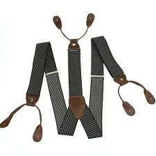 Leather Suspenders Braces Button Holes Fashion Men's Stripes Adjustable BD752