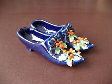 19th C Flujo Azul Porcelana Pin/PLATO de abalorio, Zapatos con Navidad decoración de acebo